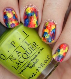 Rainbow watercolor fingernails (Rainbow Nail Art Collaboration by Peachy Polish)
