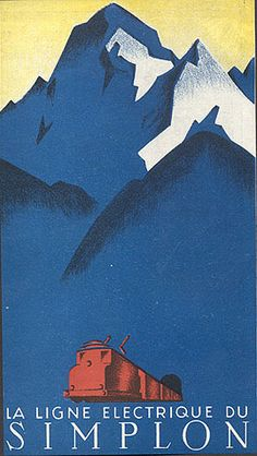 La Ligne Electrique du Simplon, circa 1935 (via Travel Ephemera Museum of Graphic Design from the 1920s and 1930s)