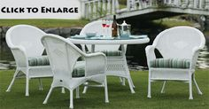 English Bay outdoor dining set. Classic white wicker