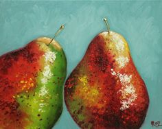 Pears painting 32 16x20 inch original still life fruit oil painting by Roz. $170.00, via Etsy.