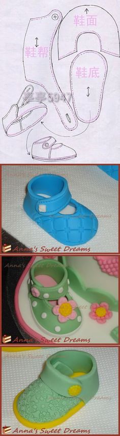 New baby shoes pattern cake ideas Fondant Baby Shoes, Fondant Girl, Fondant Toppers, Fondant Cakes, Cupcake Cakes, Fondant Bow, Baby Shoes Pattern, Shoe Pattern, Cake Decorating Techniques