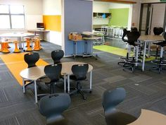 Hingaia School... Orange room for interpersonal, collaborative learning and green room for hands-on, experiential learning