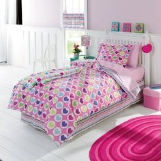 NWOT Jumping Beans Pink Hearts Reversible Twin Comforter Sham Set  #JumpingBeans