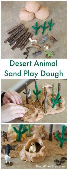 Wüstenteig Pretend Play Desert Play Dough Pretend Play – Small world play, create a fun desert scene! Playdough Activities, Animal Activities, Activities For Kids, Adhd Activities, Sand Play Dough, Desert Crafts, Wild West Theme, Desert Animals, Small World Play