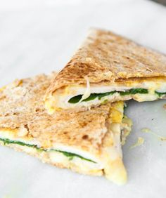 Quick & Easy Lunches for Your Kids: Ham and Cheese Quesadillas with Jarlsberg cheese, ham, baby spinach leaves, and mustard on a whole wheat tortilla