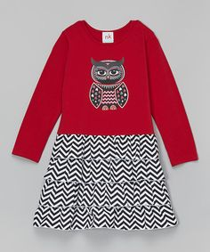 Look what I found on #zulily! Red Owl & Chevron Dress - Infant, Toddler & Girls #zulilyfinds