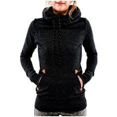 5e19e081738 Women s Women Funnel Neck Hoodie Lightweight Hooded Sweatshirt ( 9.99) ❤  liked on Polyvore featuring