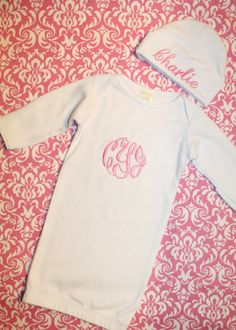 Personalized Newborn Layette Gown and Hat by SweetandSimpleStitch, $28.00