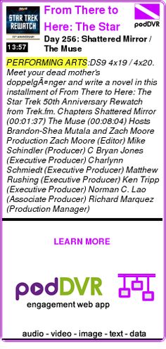 #PERFORMING #PODCAST  From There to Here: The Star Trek 50th Anniversary Rewatch    Day 256: Shattered Mirror / The Muse    LISTEN...  https://podDVR.COM/?c=e206c1cb-2af5-8fce-575a-18ed62b4e2c3