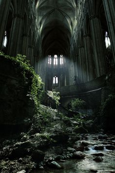 "Often described as a ruined/abandoned castle, and sometimes referred to as ""St-Étienne"", this is actually a 'photocollage' by the very talented Jurg Roessen (http://www.jurgroessen.nl/pages/obscur#.UQ6GuKVNWqg). It's a very beautiful fantasy, but unfortunately not a real place - rather, it's a few different locations stitched together."
