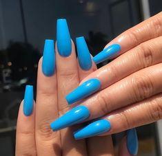 Blue Acrylic Nails, Summer Acrylic Nails, Acrylic Nail Art, Blue Coffin Nails, Nail Summer, Nail Colors For Summer, Acrylic Nail Designs For Summer, Coffin Nails Designs Summer, Blue Stiletto Nails