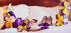 Purple and gold LA Lakers themed wedding details