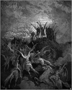 Gustave Doré, Paradise Lost - Angels of Heaven blow their trumpets in victory