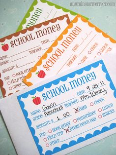 free printable is a derivative of the School Notes, but is just for the purpose of sending in money. You know, for book orders, lunch, field trips, etc. It's labels you can slap on an envelope… TO SEND MONEY TO SCHOOL.  Pretty freakin' novel, eh?