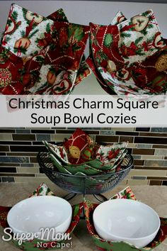 Sewing Gifts Sew up a bunch of Christmas Charm Square Soup Bowl Cozies to use over the holiday and to give as gifts. Sewing Basics, Sewing Hacks, Sewing Ideas, Sewing Tips, Sewing Crafts, Sewing Classes For Beginners, Fabric Headbands, Leftover Fabric, Love Sewing
