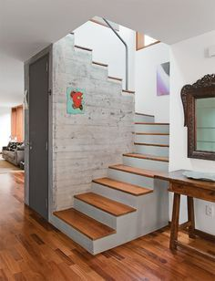 Staircase Space Idea Creative Ways To Use The Space. From a library to a wine storage area, we has clever ideas for how to put that tricky spot under your stairs to good use. ideas stairways Staircase Space Idea Creative Ways To Use - Lumax Homes Home Stairs Design, Interior Stairs, Home Interior Design, Loft Stairs, House Stairs, Attic Staircase, Under Staircase Ideas, Small Space Staircase, Space Saving Staircase