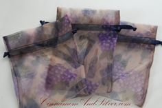 Wine Themed Organza Gift Bags, Vineyard Party Bags, Grape Organza Gift Bags, Olive Organza Bags, Ivy Print Organza Drawstring Gift Bags by CinnamonandSilver on Etsy