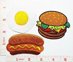 Fried egg Hamburger with HOT DOG Cooking Chef Kid patch Jacket Polo T-shirt DIY Applique Embroidered Sew Iron on patch ** To view further for this item, visit the image link.