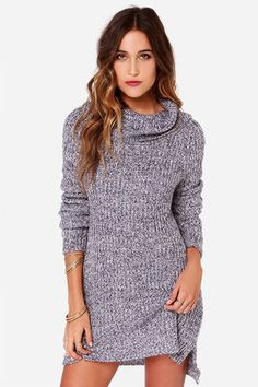 """Wherever the mornings still hold their chill, that's where the Olive & Oak Cowl Be There Navy and Lavender Sweater Dress will be! Slip into this soft knit sweater dress and you'll be so thankful for the casual oversized fit, comfy cowl neckline, and navy and lavender marl knit that adds a cheery feminine finish. High-low hem. Long sleeves. Unlined. Model is 5'8"""" and is wearing a size small. Top measures 2"""" longer at back. 75% Acrylic, 25% Nylon. Hand Wash Cold. Imported."""