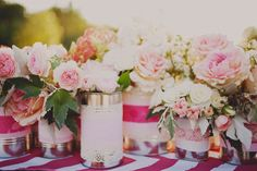 pink-roses-in-empty-cans-shabby-chic-diy-wedding-brunch-at-saks. Tin Can Centerpieces, Bridal Shower Centerpieces, Centerpiece Ideas, Wedding Pics, Diy Wedding, Wedding Flowers, Wedding Ideas, Wedding Vintage, Casual Wedding