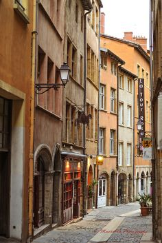 A charming street in the old town Lyon, Place St. Jean section