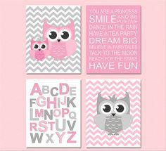 Pink and grey owl nursery Art Print Set -5x7 - Kids room wall decor, baby girl, family, you are a princess, lavender, alphabet -UNFRAMED