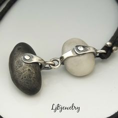 Handmade Jewelry by Laura Jane Bouton - This double beach stone did not find a home, the last one left from all the art shows. She just wen - Rock Jewelry, Spoon Jewelry, Sea Glass Jewelry, Beach Jewelry, Leather Jewelry, Wire Jewelry, Handmade Jewelry, Feet Jewelry, Found Object Jewelry