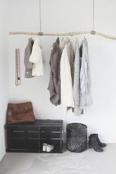 Diy clothing rack ideas best hanging clothes racks ideas on wardrobe rail in open clothes rack . Diy Clothes Rail, Diy Clothes Hanger Rack, Diy Coat Rack, Diy Clothes Videos, Hanging Clothes, Clothes Racks, Coat Racks, Decoration Branches, Branch Decor