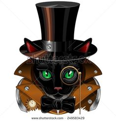 Uploaded and SOLD! #Vector #Steampunk #Black #Cat #Portrait! on #Shutterstock! ^_^  http://www.shutterstock.com/it/pic-249583429/stock-vector-steampunk-black-cat-portrait.html?src=&ws=1