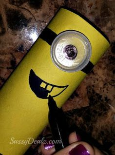 DIY: Cute Despicable Me Minion Toilet Paper Roll Craft For Kids | bottle top eye