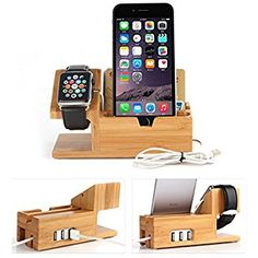 Smile Mini Bamboo Iwatch Stand Icozzier Multi Device Charging Station And Cord Organizer