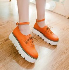 Womens Girls Lovely Ankle Strappy Creepers Shoes Preppy Casual Bandage Shoes