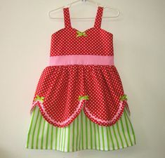 Strawberry Shortcake Dress, Love it!! Darling way to be a strawberry for Halloween...add a cute little strawberry hat with a stem and little green slippers
