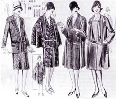 "In the 1920s, ""Businesswomen"" were advised to pay careful attention to the difference between social and working dress. According to Vogue:    ""We must stoutly protest that the sport, garden party or reception dress is out of place in the shop or office. Short sleeves do not look well for such wear, ever. Elbow-length is permissible, but the really short sleeve is bad form and the sleeveless street gown is unspeakably vulgar.""   Muted colors and simple fabrics were also advised."