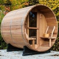 8' Western Red Cedar Outdoor Barrel Sauna w/ Porch & Sauna Heater  OK, so it's not a house, but the property could probably use a sauna, no?