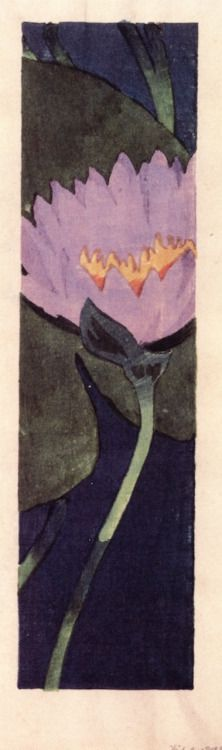 Lily by Arthur Wesley Dow(1857-1922), American painter and printmaker. At the turn of the century His ideas were quite revolutionary for the period; he taught that rather than copying nature, art should be created by elements of the composition, like line, mass and color (wiki) - (windypoplarsroom)