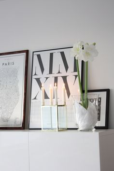 Homevialaura | Fourth advent | Brass candle holder | white christmas flower amaryllis | David Ehrenstråhle Guide to Paris poster | Playtype calendar poster