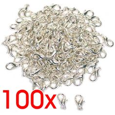 100pcs Silver Plated Lobster Clasps Hooks Jewelry Findings 10mm shoes accessories  Wholesale Lots