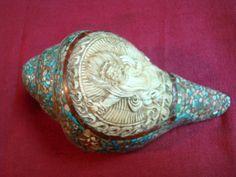 Turquoise Sankha Shells Conch Tibetan Nepal  $240