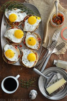 Cheesy English Muffins with Smoky Balsamic Red Pepper Compote and Fried Eggs Recipe #breakfast #brunch #sponsored
