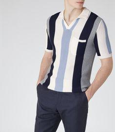 Mens Navy Striped Polo Knit - Reiss Merival