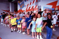 View of young visitors auditioning at the Nickelodeon Studios attraction located at the Universal Studios Florida amusement park in Orlando, Florida.