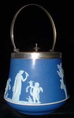 Wedgwood England Biscuit Jar Blue Dip Victorian Figures Bird Cherubs.