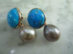 TOM K Earrings Mix &Match Studs Pearl Hooks Turquoise Lemonquartz Agate Smoky Ballroom Bride Briolett Drops Beads Gold Citrin