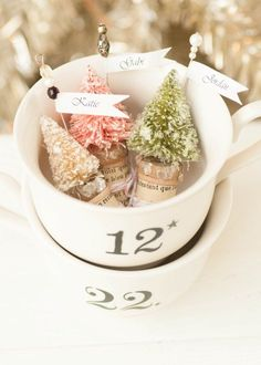 """Use these """"snow-covered pines"""" as elegant place cards at your Christmas dinner."""