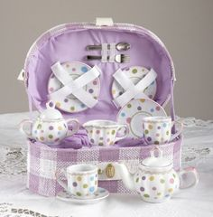Large Dollies Tea Set/ Basket, Gumdrops by Delton Products. $34.97. Gumdrops motif tea set for children. Includes basket for easy carrying. Treat your little one to a Mommy Daughter or Grandma Granddaughter tea party with this colorful porcelain Gum Drops KidsTea Set by Delton Products. This tea set is beautiful and fun, whether you are hosting a tea party or just playing kitchen. The ceramic tea set comes in a fabric covered basket lined with purple fabric. Tea set includes 2 ...