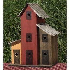 +primitive+handcrafted+birdhouses | Home / Amish Primitive Tin Roof Triple Birdhouse