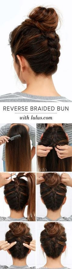Cool and Easy DIY Hairstyles - Reversed Braided Bun - Quick and Easy Ideas for Back to School Styles for Medium, Short and Long Hair - Fun Tips and Best Step by Step Tutorials for Teens, Prom, Weddings, Special Occasions and Work. Up dos, Braids, Top Knots and Buns, Super Summer Looks http://diyprojectsforteens.com/diy-cool-easy-hairstyles #diyhairstylesquick