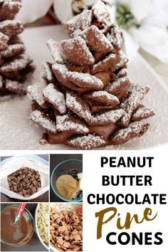Peanut Butter Chocolate Pine Cones Holiday Desserts is part of Holiday dessert Chocolate - Peanut Butter Chocolate Pine Cones are absolute crowd pleasers! Mini Desserts, Christmas Desserts, Christmas Treats, Dessert Recipes, Christmas Cooking, Christmas Goodies, Sweet Desserts, Christmas Recipes, Holiday Recipes