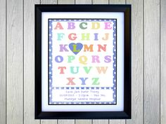 Baby Alphabet - Personalised Alphabeth Print for baby boy. Personalised with Baby Name, Date of Birth, Time of Birth, Weight and Hospital